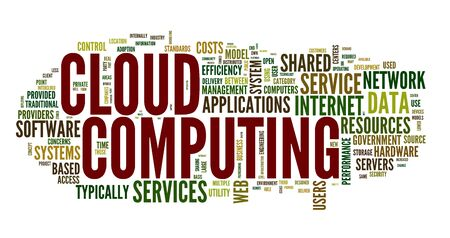 cloud tag: Cloud computing concept in word tag cloud on white Stock Photo