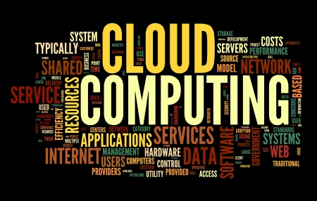 Cloud computing concept in word tag cloud on black photo