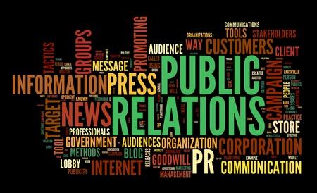 relaciones publicas: Las relaciones públicas en concepto de nube de palabra de la etiqueta sobre fondo negro