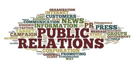 relaciones publicas: Las relaciones p�blicas en el concepto de nube de palabra de la etiqueta en el fondo blanco