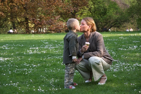 mom kiss son: Give me a kiss and I will give you an ice cream