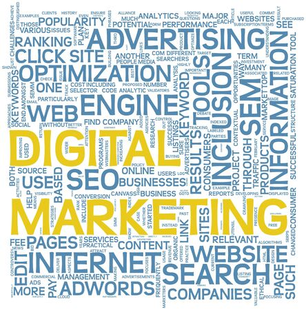 Digital marketing and seo concept in word tag cloud on white background  photo
