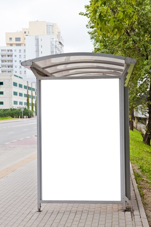 Blank billboard on bus stop for your advertising Stock Photo