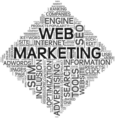Web marketing concept in word tag cloud on white background. Stock Photo
