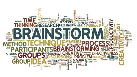 Brainstorm related words in tag cloud isolated on white photo