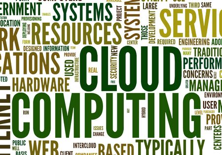 Cloud computing concept in word tag cloud on white photo