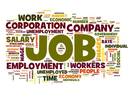 employee satisfaction: Job related words concept in word tag on white Stock Photo