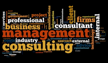 Business consulting concept in word tag cloud on black background