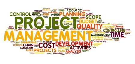 Concepto de gestión de proyectos en la nube de palabra de la etiqueta Foto de archivo