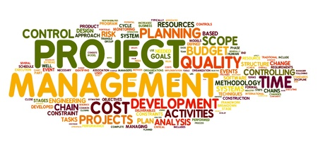 Project management concept in woord tag cloud Stockfoto