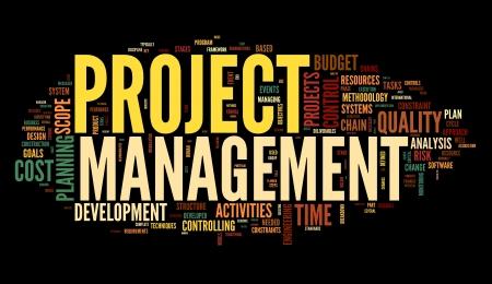 Projekt-Management-Konzept in Wort tag cloud