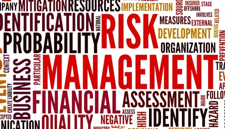 Risk management concept in tag cloud isolated on white photo