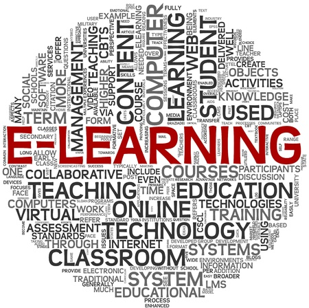 E-learning and education concept in tag cloud on white background photo