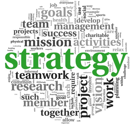 successful strategy: Strategy and management concept in word tag cloud