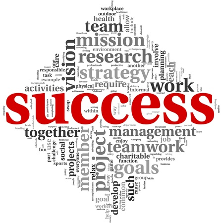 Success concept related words in tag cloud isolated on white Stock Photo - 12604999