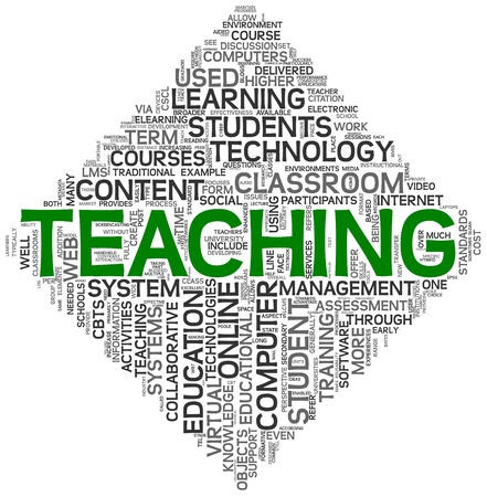 Teaching and education concept in tag cloud on white background