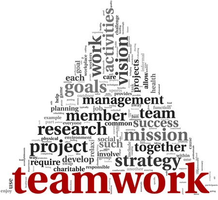 Teamwork and strategy concept in word tag cloud Standard-Bild