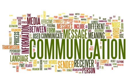 communicate: Communication concept in word tag cloud isolated on white background Stock Photo