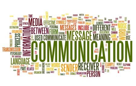 comunicar: Concepto de comunicación en la nube de palabra de la etiqueta aisladas sobre fondo blanco Foto de archivo