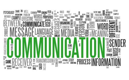 Communication concept in word tag cloud isolated on white background photo