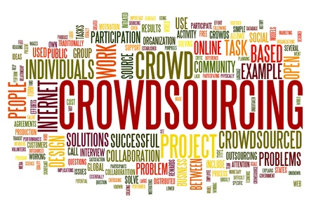 Crowdsourcing concept in word tag cloud isolated on white background