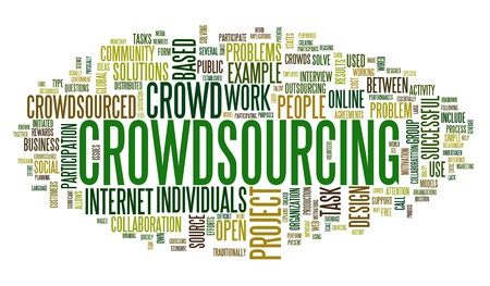 crowdsourcing: Crowdsourcing concept in word tag cloud isolated on white background