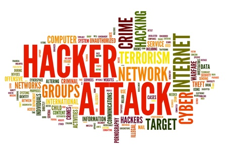 Hacker attack concept in word tag cloud isolated on white background photo
