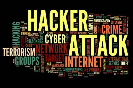 hacking: Attacco Hacker concetto in parola nuvola tag isolato su sfondo nero