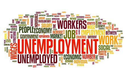unemployment: Unemployment concept in word tag cloud on white background
