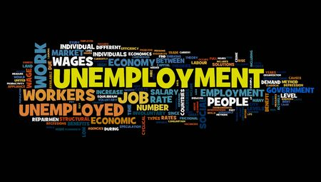work experience: Unemployment concept in word tag cloud on black background
