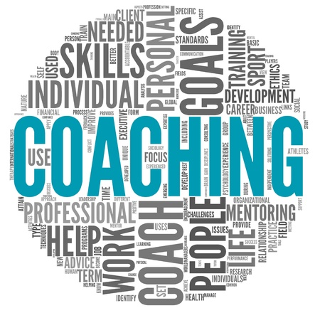 personal training: Coaching concept related words in tag cloud isolated on white Stock Photo