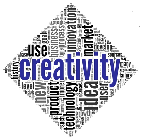 Creativity and innovation concept related words in tag cloud on white photo