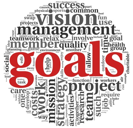 goal achievement: Goals in project and management concept in word tag cloud on white Stock Photo