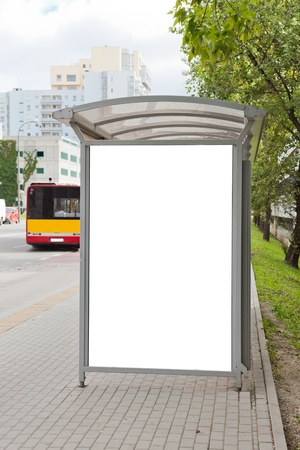 blank billboard: Blank billboard on bus stop for your advertising Stock Photo