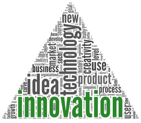 innoveren: Innovatie en technologie en product concept met betrekking woorden in tag cloud op wit Stockfoto