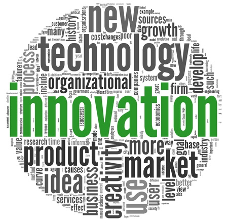 product development: Innovation and technology and product concept related words in tag cloud on white