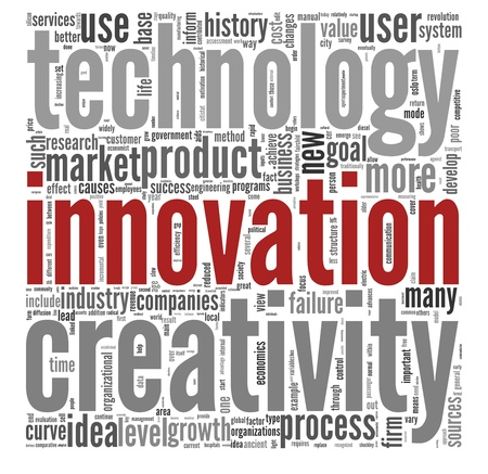 innovation word: Innovation and technology and product concept related words in tag cloud on white