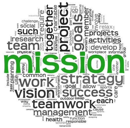 vision mission: Mission and bussiness management concept in word tag cloud isolated on white background Stock Photo
