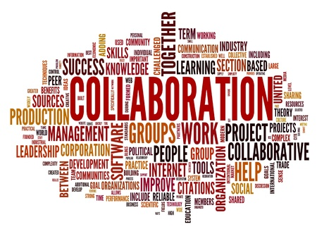 Collaboration concept in word tag cloud isolated on white background photo