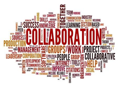 definici�n: Concepto de colaboraci�n en la nube de palabra de la etiqueta aisladas sobre fondo blanco Foto de archivo