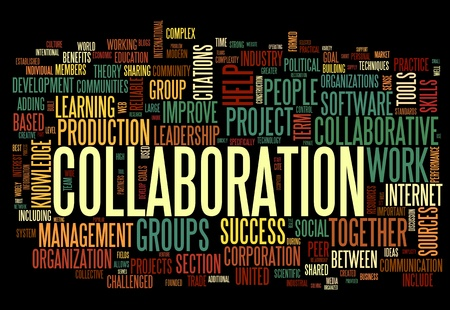definitions: Collaboration concept in word tag cloud isolated on black background