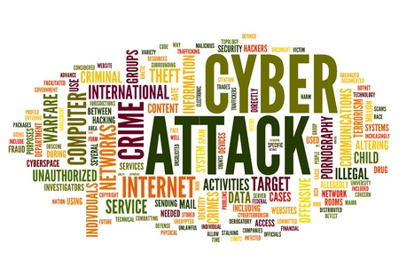 cyber: Cyber attack concept in word tag cloud isolated on white background Stock Photo