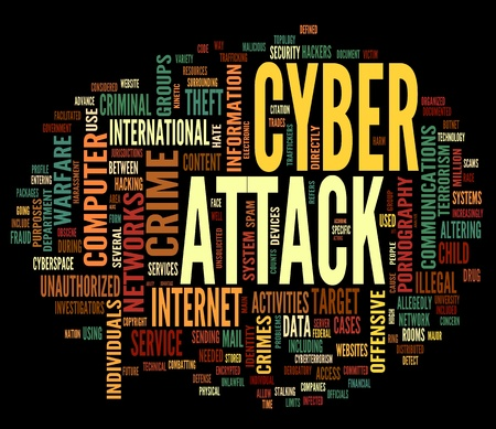 information security: Cyber attack concept in word tag cloud isolated on black background Stock Photo