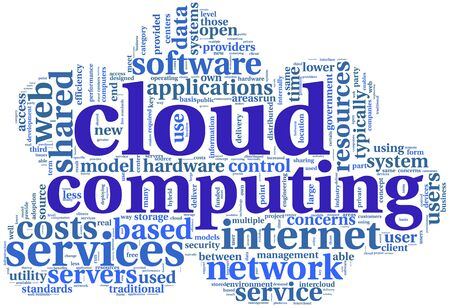 Cloud computing concept in word tag cloud on white in cloud shape photo