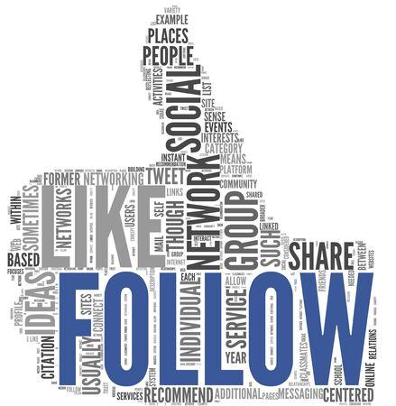 Siga como concepto de redes sociales en la nube de etiquetas de forma pulgar hacia arriba aislados en fondo blanco