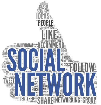 Social network concept in tag cloud of thumb up shape isolated on white background photo