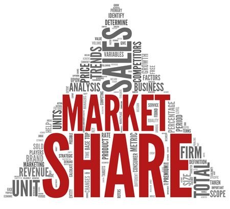 share market: Market share of sales concept in word tag cloud on white Stock Photo