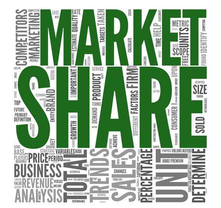 La part de marché et le concept de vente au nuage de tags mot sur fond blanc