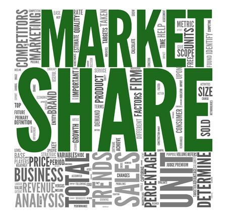 Market share and sales concept in word tag cloud on white background photo
