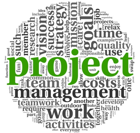 Project and management concept in word tag cloud on white background photo